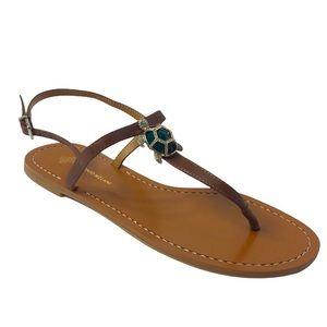 Antonio Melani Turtle T-Strap Leather Sandals 8.5